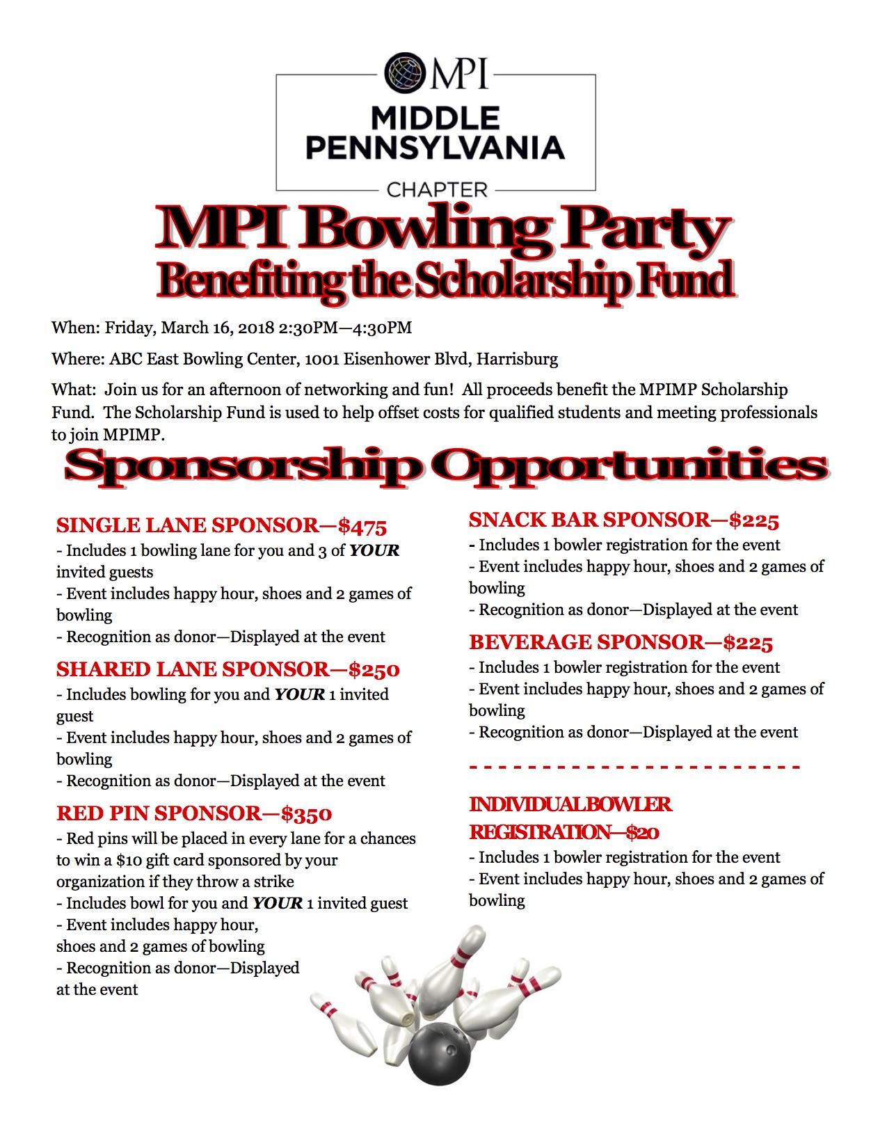 Bowling Fundraiser Flyer 2018