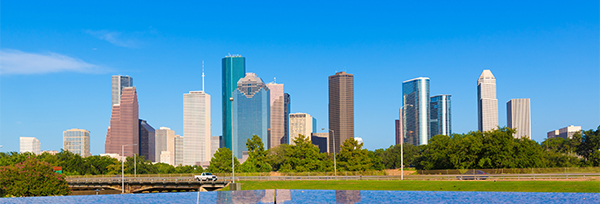 Houston city blue sky