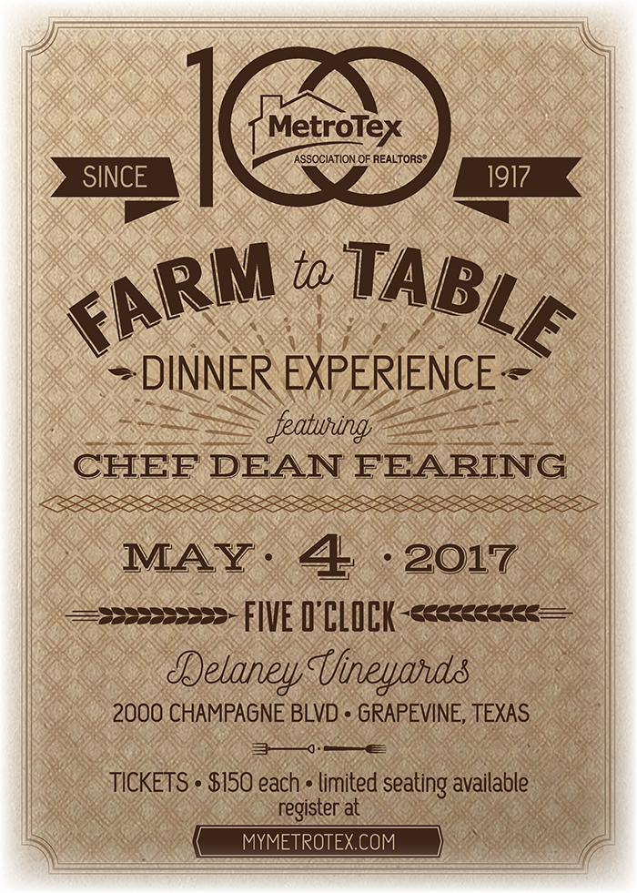 Farm to Table Dinner Experience featuring Chef Dean Fearing