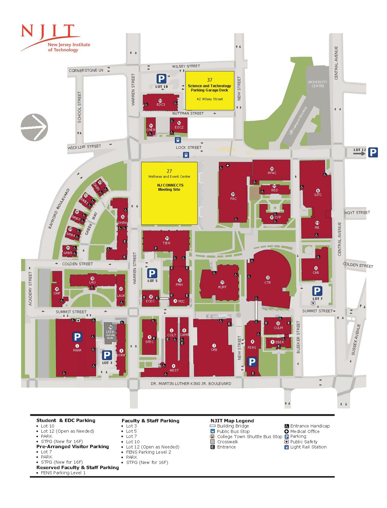 NJIT PARKING MAP