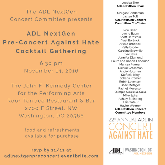 NextGen Pre-Concert Against Hate Cocktail Gatherin