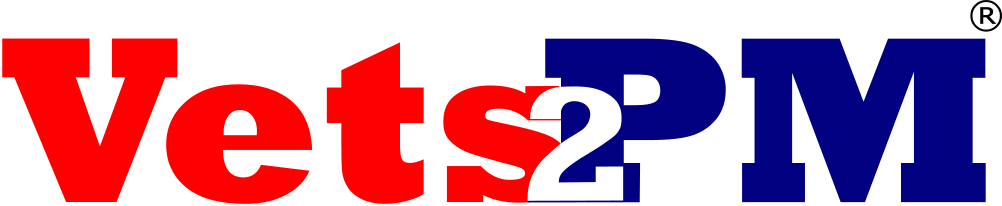 Current Vets2PM Logo with R Mark Sans Tag Line
