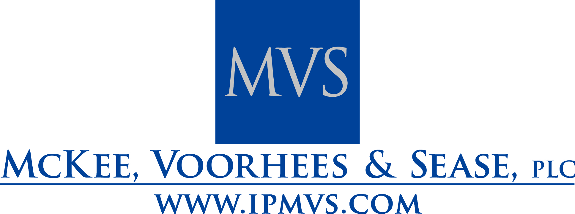 MVS blue logo - centered with website - stacked