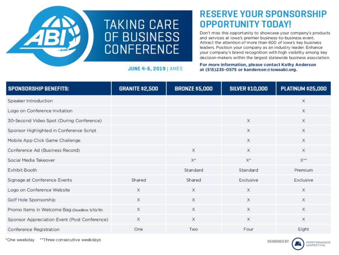 2019 Sponsorship Matrix