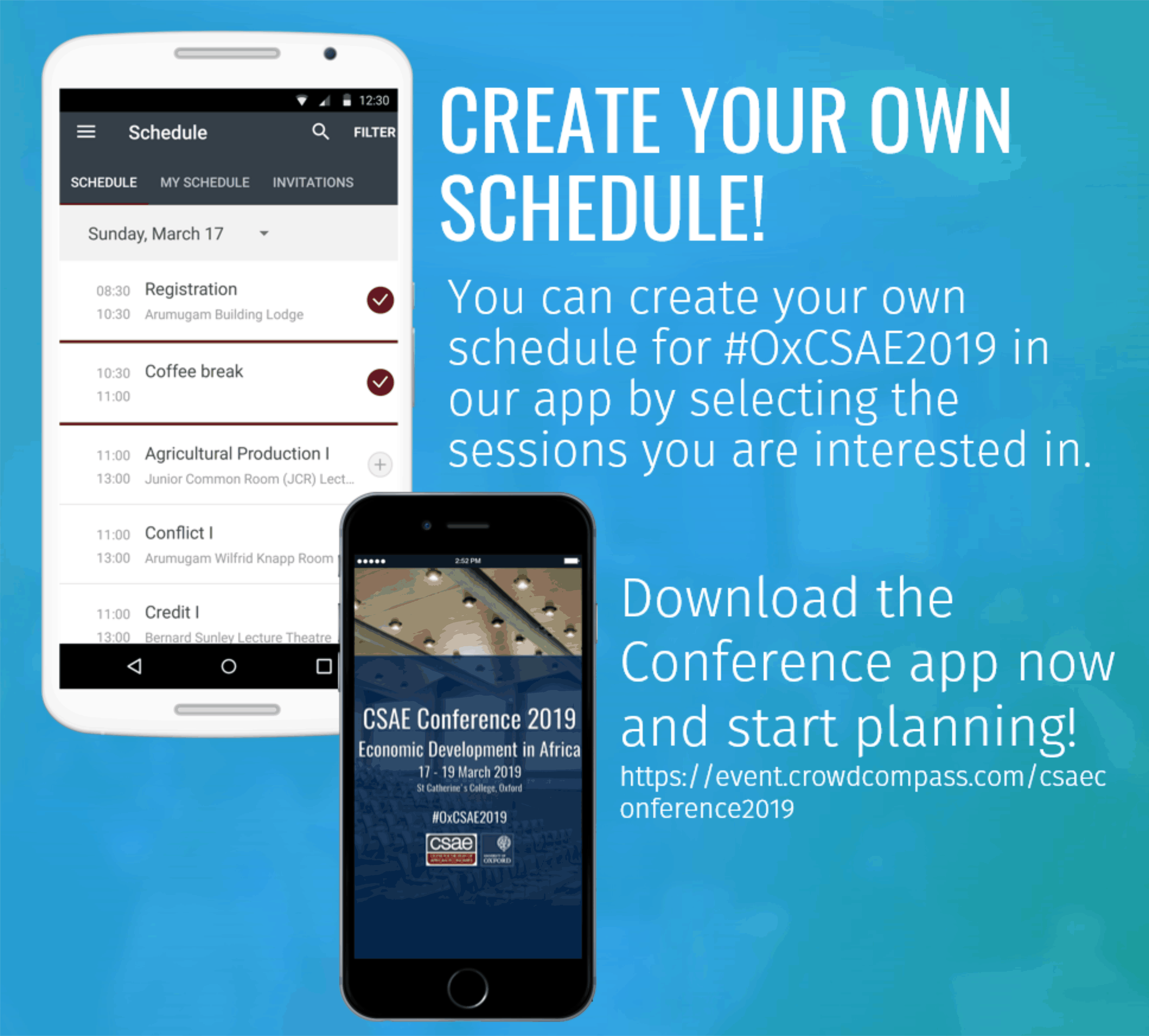 CSAE App create your schedule