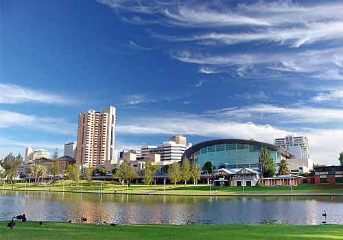 Adelaide Skyline view from River Torrens