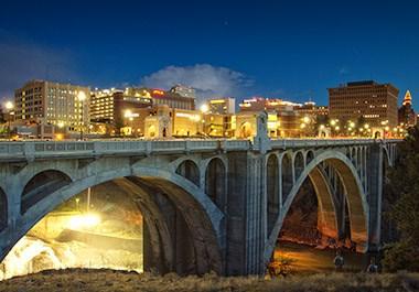 Monroe Street Bridge Evening Glow