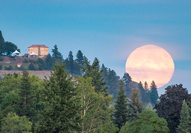 Full moon over Arbor Crest Wine Cellars