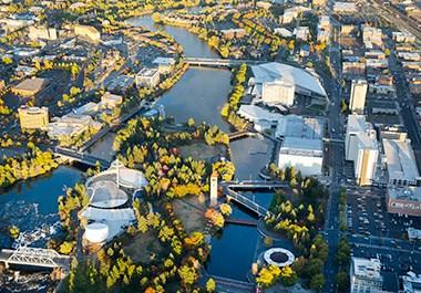 Aerial of Downtown Spokane