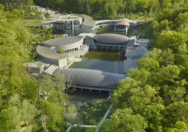 Crystal Bridges designed by architect Moshe Safdie