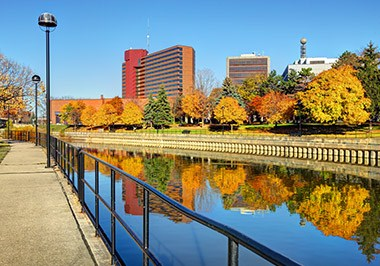 Flint River in Downtown Flint Michigan