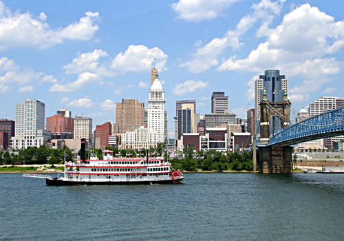 Steamboat on Ohio River and Cincinnati Skyline