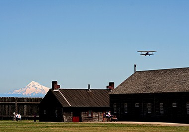 Fort Vancouver with Mt. Hood and Plane