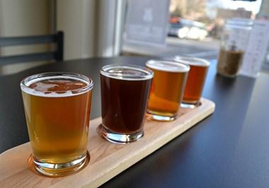 Beer tasting flight at Dirty Hands Brewing