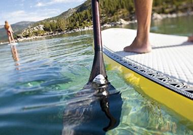 Lake Tahoe's pristine water on paddleboard