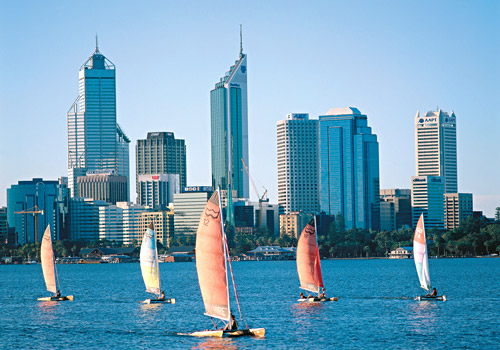 Perth Skyline with Surf Cats on Swan River