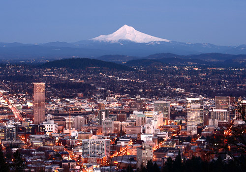 Portland City Lights with Mount Hood in the Backgr