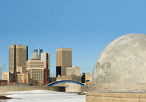 Winnipeg Skyline & Back of Skateboarding Structure