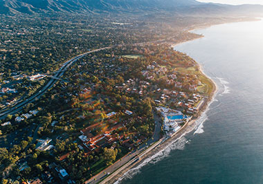 Aerial views of the Santa Barbara waterfront