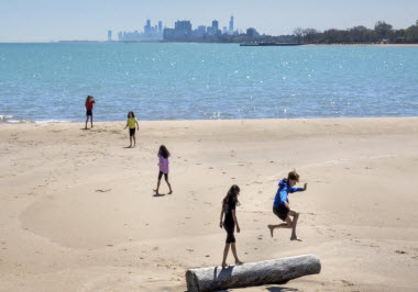 Evanston Beach people Chicago 2017