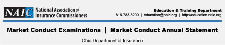 Market Conduct Examinations | Market Conduct Annual Statement at the Ohio Department of Insurance