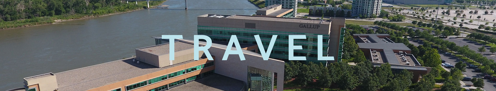 Travel Page Banner, aerial picture of Gallup's Omaha Riverfront Campus