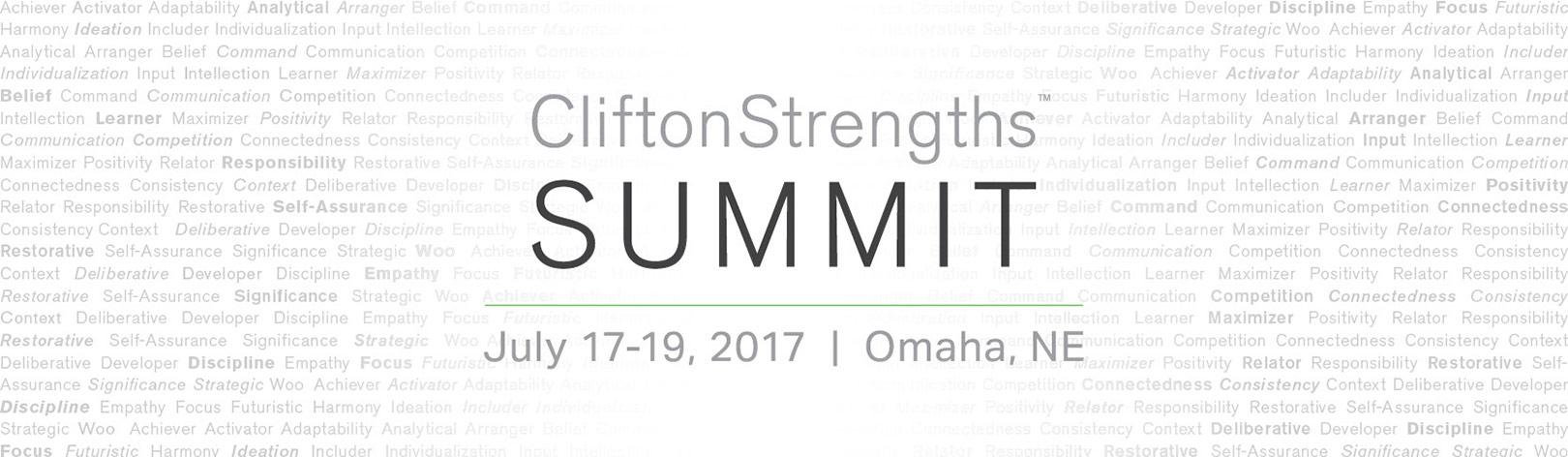 CliftonStrengths Summit July 17-19 2017 Omaha Nebraska