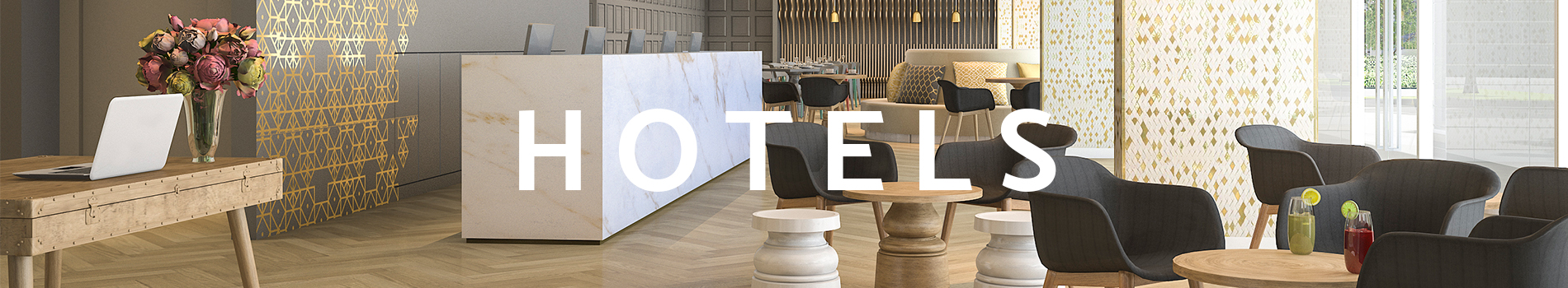Hotels section banner, picture of a hotel lobby