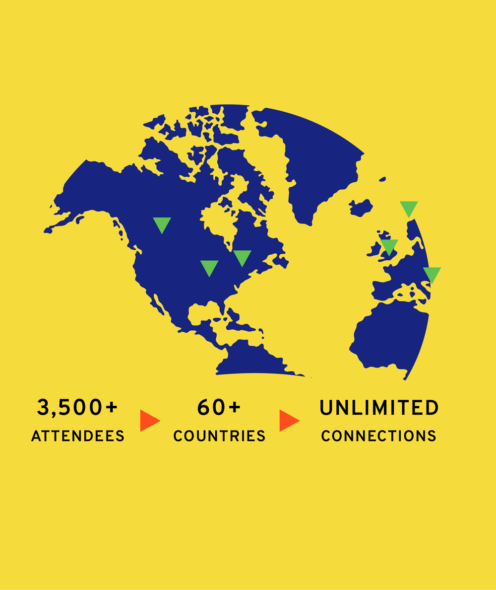 Image of a globe featuring last year's Summit information. 3,500 attendees from more than 60 countries and unlimited connections.