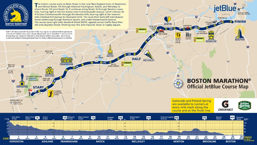 Boston marathon coursemap