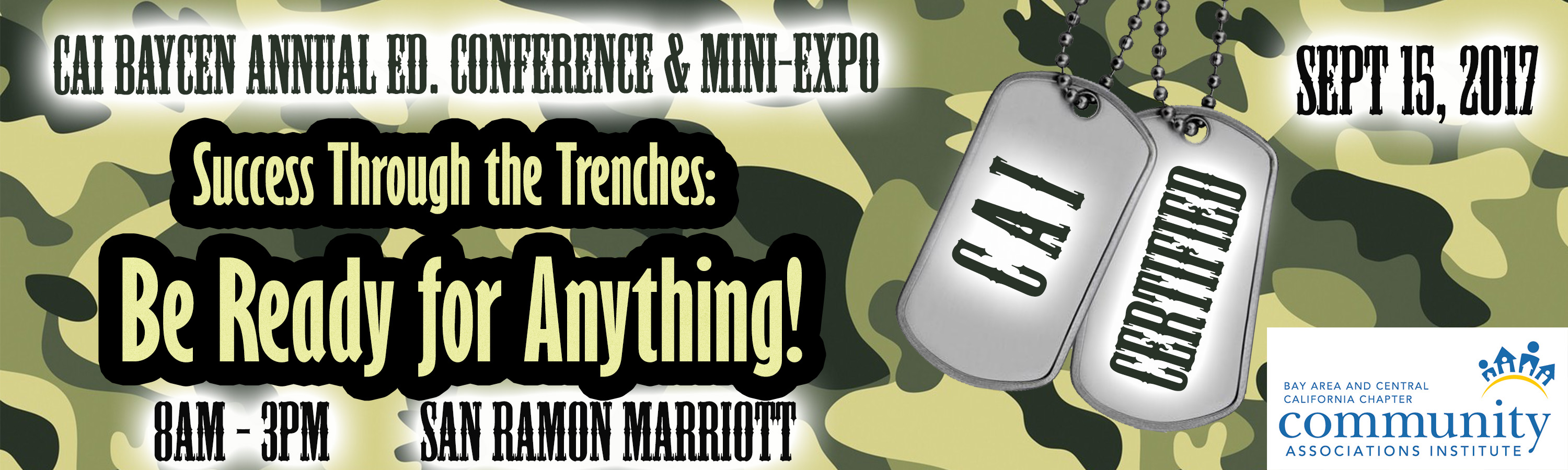 """CAI Education Conference & Mini-Expo <br> """"Camouflage Mob: Success Through the Trenches by Being Ready for Everything"""" 09/15/2017"""