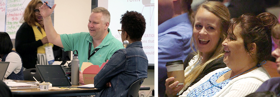 Photo left: two teachers talking in workshop; Photo right:  two teachers talking in audience