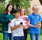 Children Walking With Smartphones