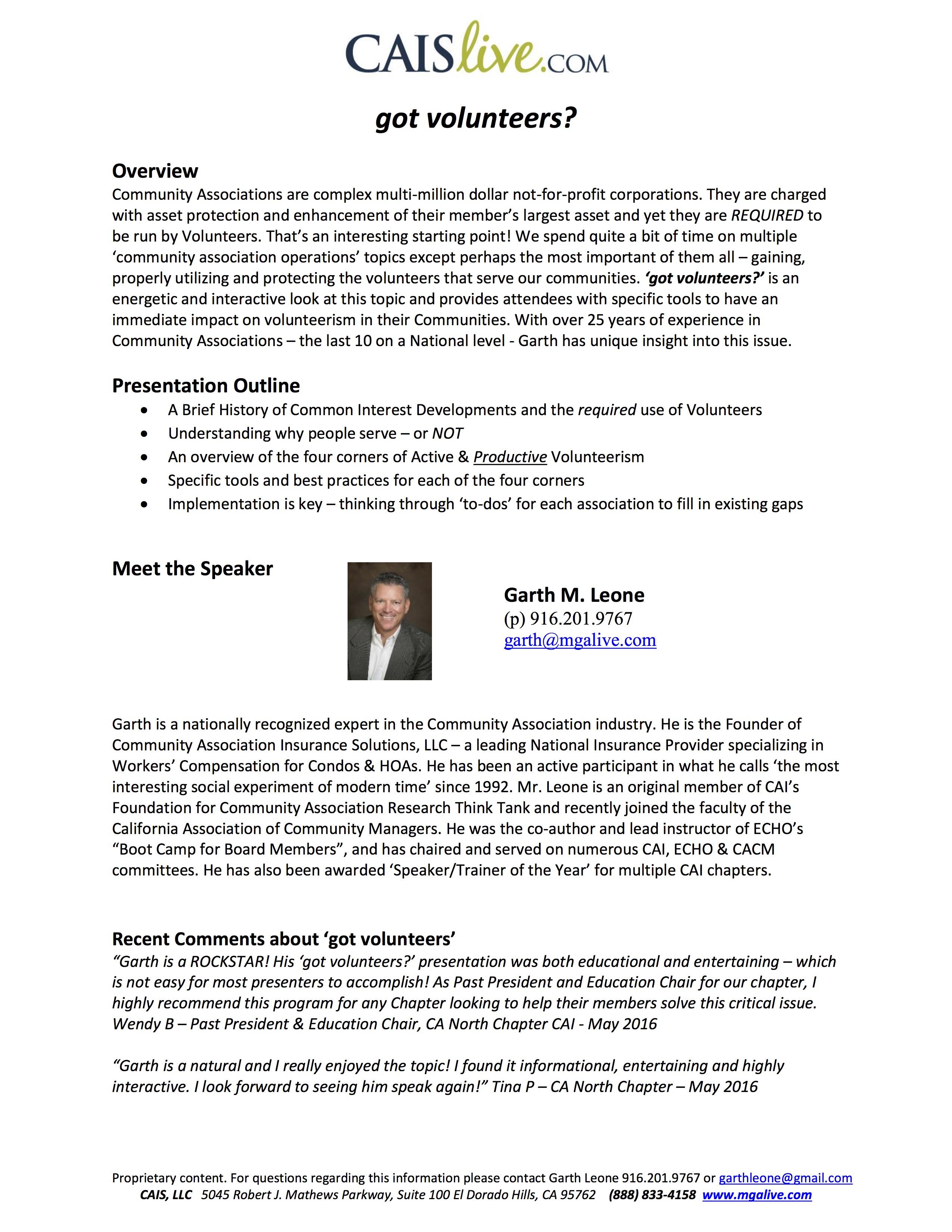 Course Outline BIO and Recent Testamonials - got v