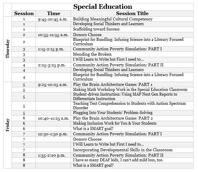 SPED session preview