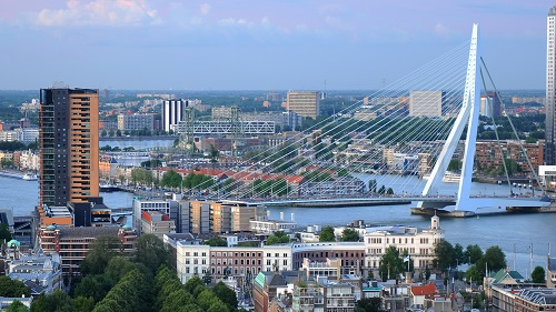 Rotterdam City and Bridge View