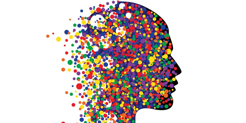 image of head made of up colourful dots