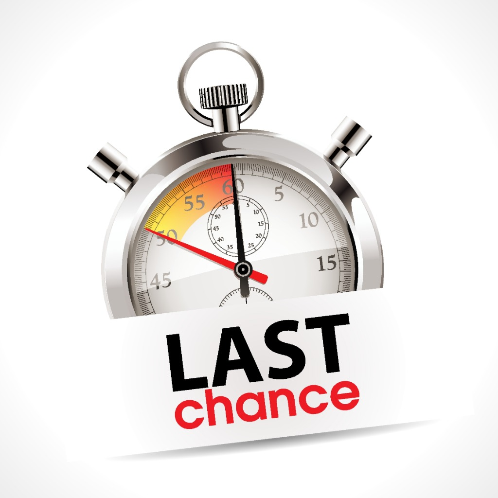 stop watch counting down with sign stating last chance