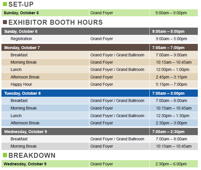 Exhibitor Booth Hours
