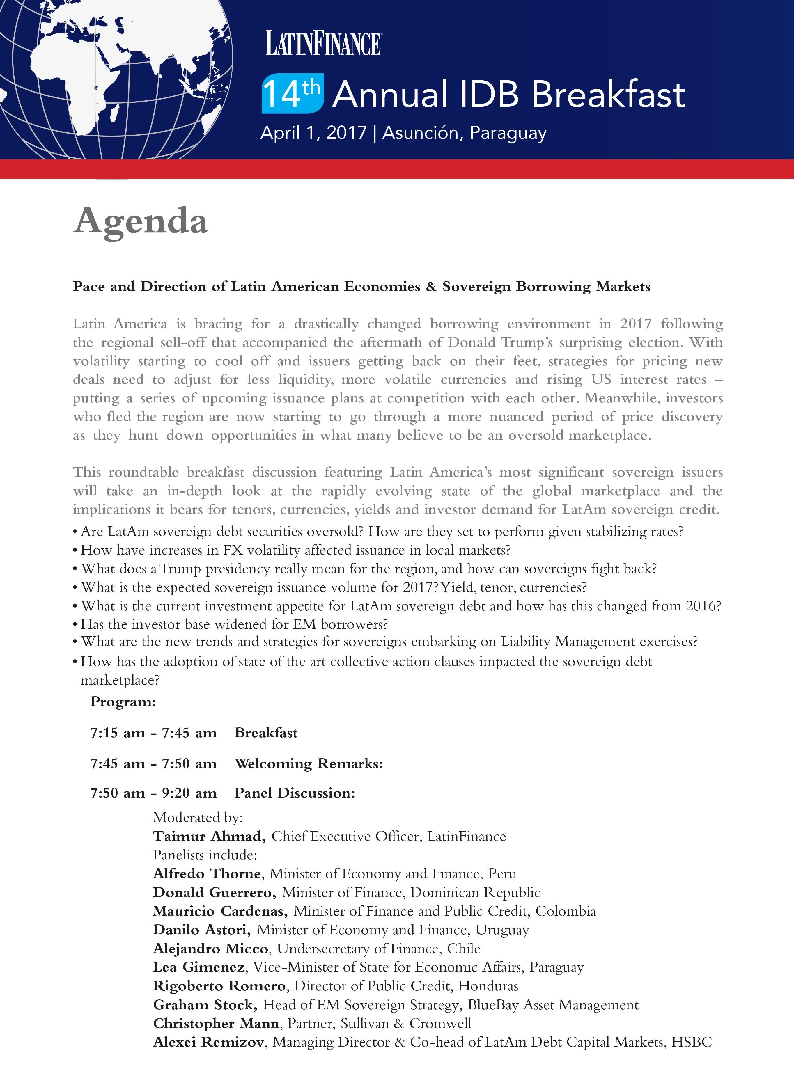 2017 IDB Breakfast Agenda