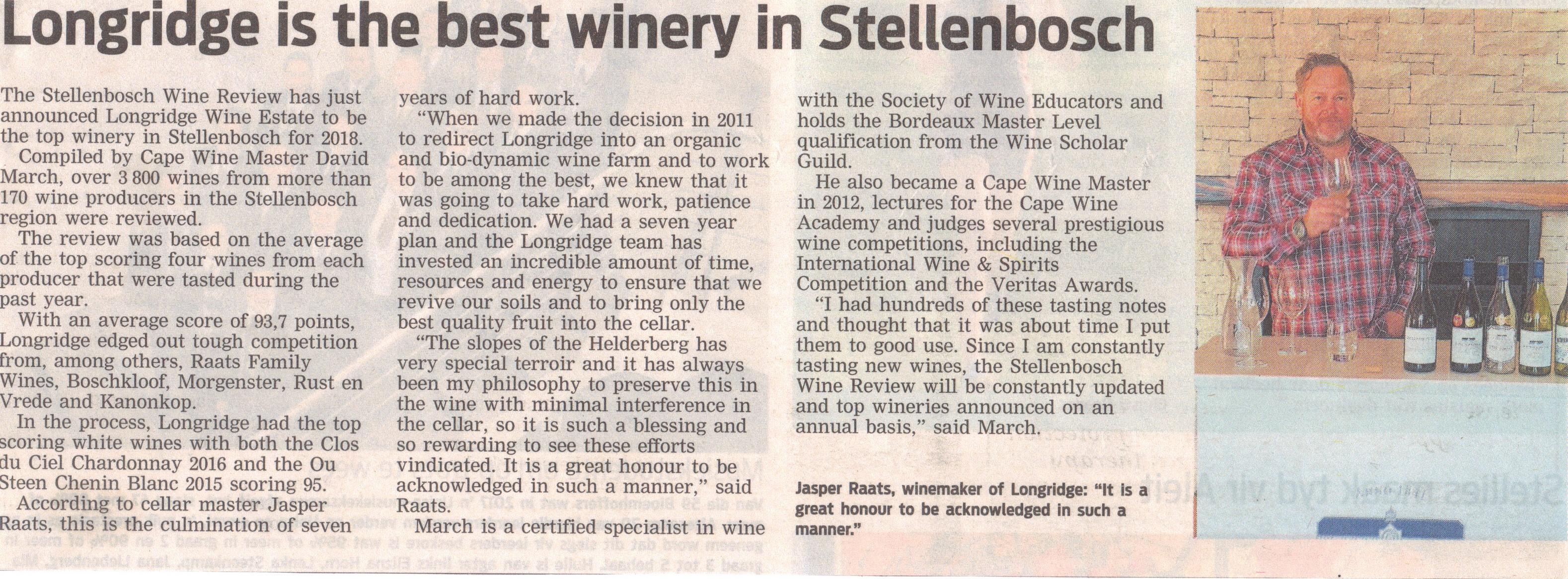 Longridge - best winery in Stellenbosch