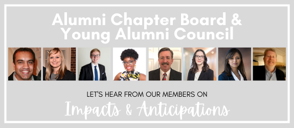 Alumni Chapter Board and Young Alumni Council Impacts and Anticipations promotional banner with member headshots