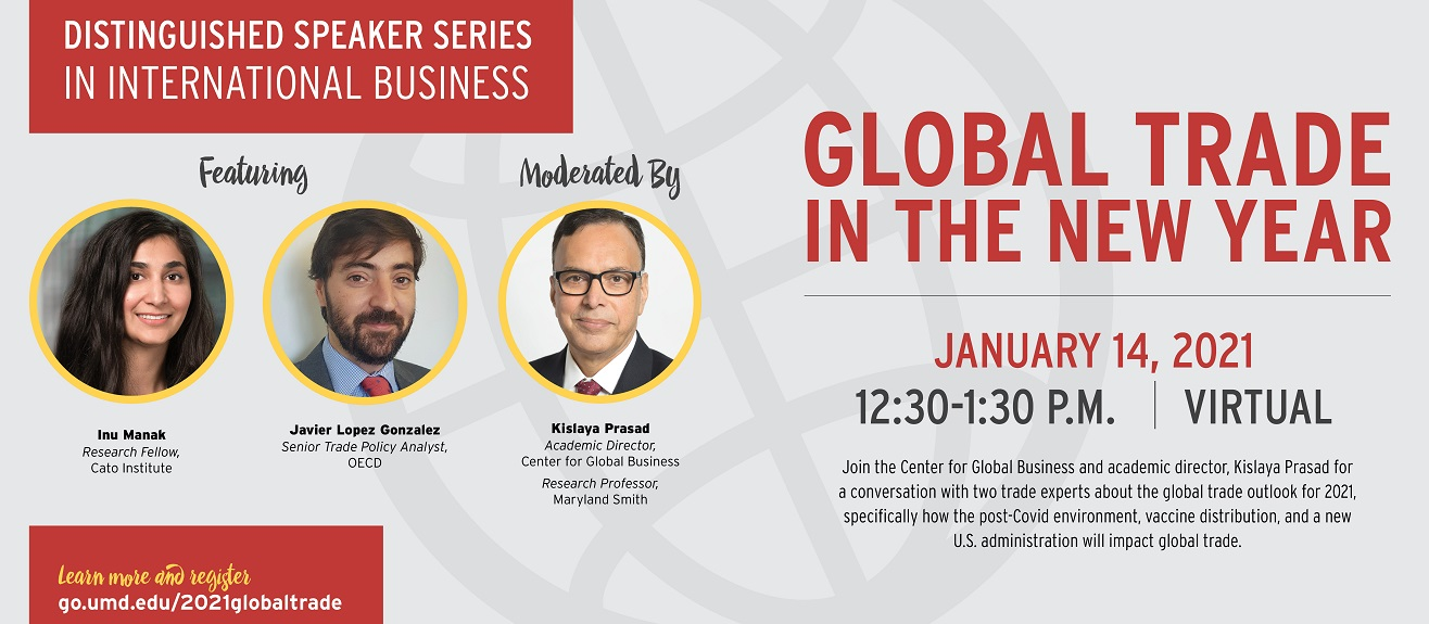 Center for Global Business Distinguished Speaker Series in International Business promotional event banner with speaker headshots