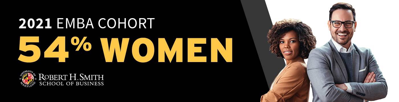 EMBA Gender Parity promotional graphic