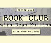 Dean Mullins Spring 2021 virutal book club promotional graphic
