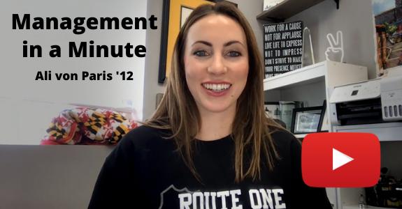 Management in a Minute with Ali von Paris '12 screengrab