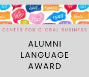 Center for Global Business Alumni Lanaguage Award promotional graphic