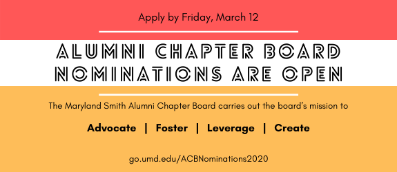 Alumni Chapter Board promotional banner announcing nominations are open