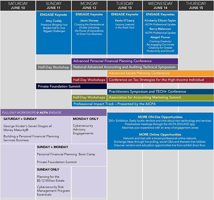 AICPA ENGAGE Agenda at a Glance 2017