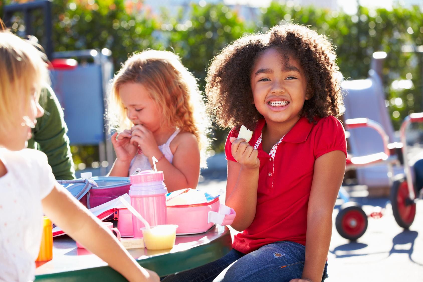 Stock Photo_African American Girl Eating School Lu